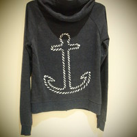 COSMIC RAY clothing  &#x27;ANCHOR&#x27; Navy Zip-Up Hoodie