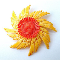 Large Vintage Sun Flower Brooch Universe Swirl Canary Yellow Bright Orange Statement Jewelry, Free US Shipping