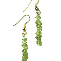 Sparkling Emerald Green Peridot Mini-Chip Earrings - Delicate and Feminine - Egypt's National Gem