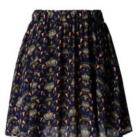 Crown Print Navy Chiffon Skirt