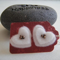 White Heart Felt Earrings  Valentine's Gift For Her by artbyLyubka
