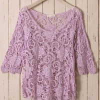Purple Floral Mid-Sleeves Crochet Top Purple S/M