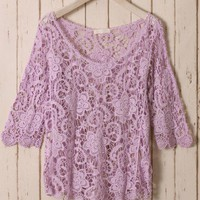 Purple Floral Mid-Sleeves Crochet Top