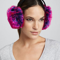 faux-fur earmuffs, purple