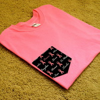 Create No Evil LLC x Clothing CO.  Breast cancer Loop Pocket tee (pink)