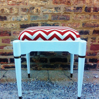 Mid Century Footstool In Rust Chevron