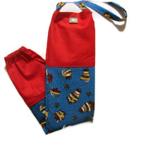 Fabric Plastic Bag Holder/ Grocery Bag Holder/ Red and Blue/ Cherries