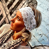 White Stretchy Lace headband Wedding Headsbands by ThreeBirdNest