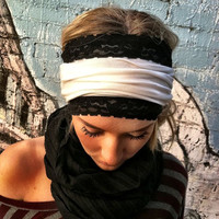 Cream Jersey and Black Lace Headband Stretch by ThreeBirdNest