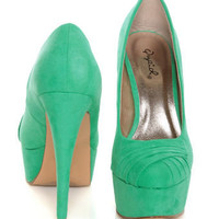 Qupid Penelope Sea Green Suede Ruched Platform Pumps
