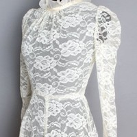 1960's Romantic Ivory Lace & Curly Chiffon Dress - M :