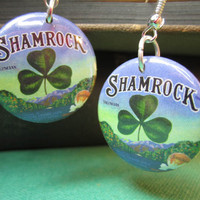 St Patricks Day Earrings Shamrock Clover Lucky by theartfulbadger