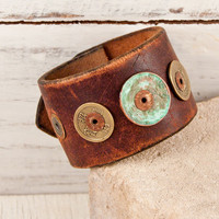Leather Cuff Metal Patina Wristband Bracelet by rainwheel on Etsy