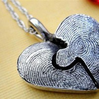 Fingerprint Puzzle Necklace  Piece in Sterling Silver