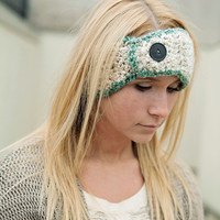 Beige Headband with Green Trim and Vintage Button