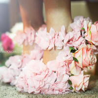 Rose Shoes with Sheer Flower Petals by PrettyRockGirl on Etsy