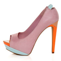 Jessica Simpson Scarletta Miss Piggy Pink Color Block Pumps - $98.00