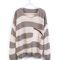 Coffee Striped Bat Long Sleeve Sweater