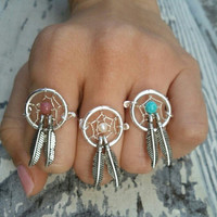 Pearl Dream Catcher Ring- Double Two Feather White Beaded Dreamcatcher Charm Finger Jewelry Choose Size 4 5 6 7 8 9 10 11