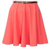 New Look Mobile | Coral Belted Skater Skirt