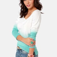 Olive and Oak Tailor Fade Aqua Blue Ombre Sweater
