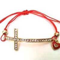 Red Glitz Cross Bracelet