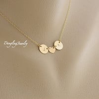 TWO Initial Necklace, Couple Necklace, Monogram Necklace, Heart Charm,  Personalized His and Her Necklace, Love, Best Friend, Sisters