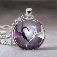 Valentine's Day Purple and White Heart, Altered Art Glass Dome Photo Pendant Necklace, no. 076-14