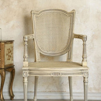 Vintage Cane Back Armchair in Original Cream Finish - $695 - The Bella Cottage