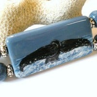 Whale Tail Pendant with Whale Silhouette on Leather Cord Necklace