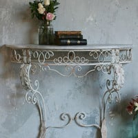 Vintage Wrought Iron Console Table with Floral Accents c1940 - The Bella Cottage