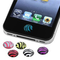Amazon.com: INSTEN 6 Pieces Zebra Patterns Home Button Sticker Compatible with Apple® iPhone® 4S: Cell Phones & Accessories