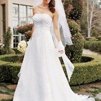 Chiffon A-line Gown with Side Draped Bodice - David's Bridal