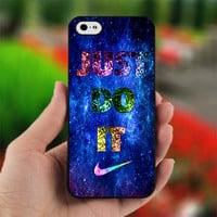NIKE Just Do It with Blue Galaxy - Photo on Hard Cover For iPhone 4/4S