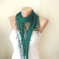 Emerald  Green Cotton Scarf with Tassel Lace by Periay on Etsy