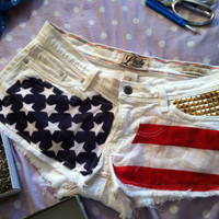 American flag shorts with gold studs by AspireByDay on Etsy