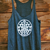 Sri Yantra Racerback Tank in Tri-Blend Black