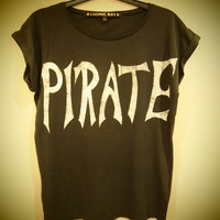 COSMIC RAY clothing  &#x27;PIRATE&#x27; Grey Roll Sleeve T-Shirt