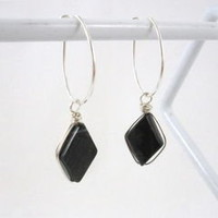 Wire Wrapped Picasso Jasper Argentium Sterling Silver Oval Hoop Earrings