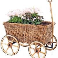 French Country Wicker Garden Cart