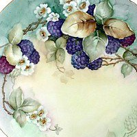 Antique Porcelain Handpainted Charger with Berries