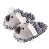 Fuzzy Friend KOALA SLIPPERS fit MOST women size 6 7 8 9 to 9.5 scuffs PLUSH BEAR