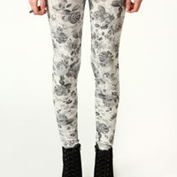 Debbie Monochrome Digital Flower Print Leggings