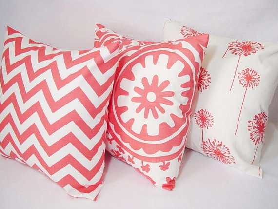 Three Coordinating Coral Throw Pillows from CastawayCoveDecor