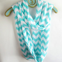 Infinite tiffany blue Chevron Scarf soft -Jersey knit
