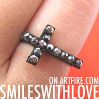 SALE - Adjustable Simple Cross Ring in Black with Rhinestones from Dotoly Love
