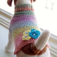 Dog Sweater Hand Knit A Dream of Flowers Small 11.5 inches long