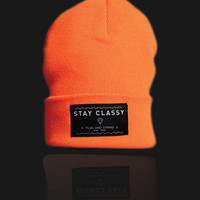 Plug and String Clothing  STAY CLASSY BEANIE | fluro orange