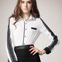 White Vintage Long Sleeve Stitching Lace Shirt S010079
