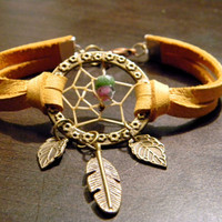 Bohemian Gypsy Native Inspired Dream Catcher Leather Bracelet     (br012)